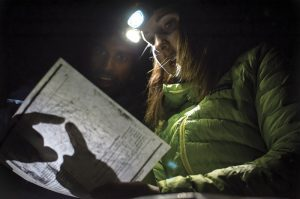 Trish McGuire and Viren Perumal discuss route options at the Hulk. Photo: Ken Etzel.