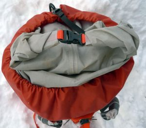 The Arcteryx Alpha FL 45 has a dry-bag type roll top instead of a conventional top lid.
