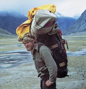 Load-carrying up the weasel valley toward Mt. Asgard, Baffin Island, 1975. Photo courtesy of Charlie Porter.