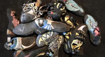 A pile of climbing shoes