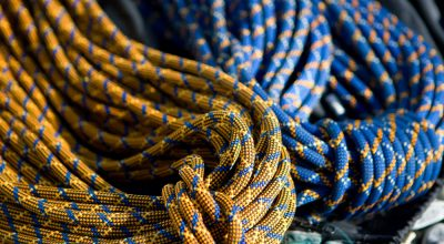 orange and blue climbing ropes