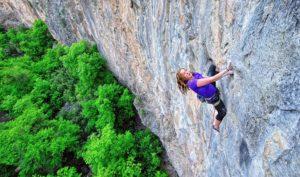 Ciara Rinaudo high, but still 20 feet below the crux, on Easy Skankin. Photo: Keith Ladzinski.