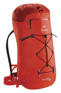 The fully waterproof Arc'teryx Alpha FL 45 pack for ice and alpine climbing.
