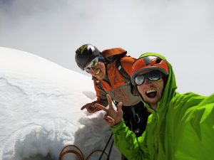 Kennedy and Dempster on the summit of the Ogre 1 after four days on the go. Photo: Hayden Kennedy.