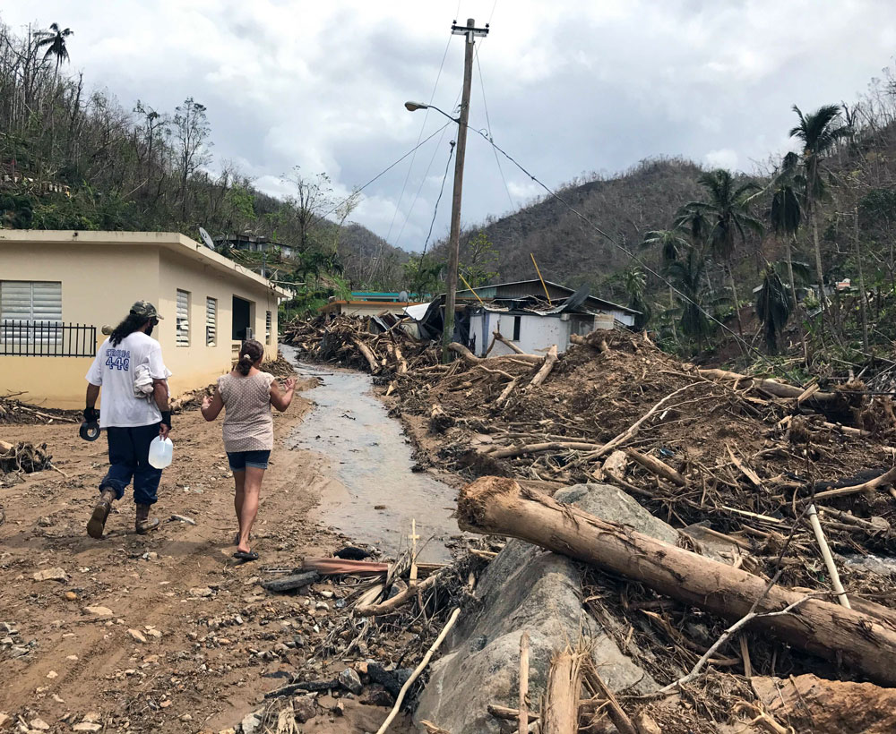 Entering Bo. Arenas in Utuado, one of the many areas that got devastated by flooding. Photo: Bryant Huffman / climbingPR.com.