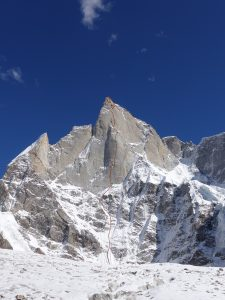 The new route, Har-Har Mahadev (VII 6b A3+ M6), on Cerro Kishtwar. Photo: Courtesy of Thomas Huber.