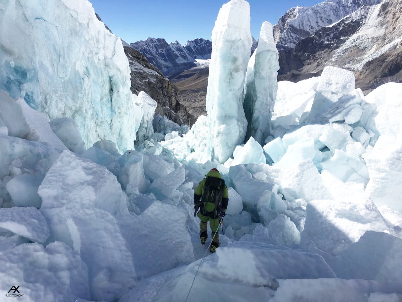 Txikon in the Khumbu icefall last winter. Photo © Alex Txikon.