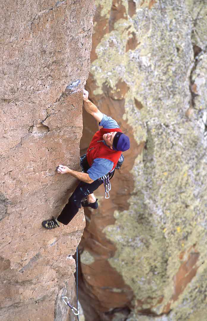 Rick Bradshaw and the iron rock of You're Scaring the Horses (5.12b), Early Wall, Diablo Canyon near Santa Fe. Photo: Jay Foley.