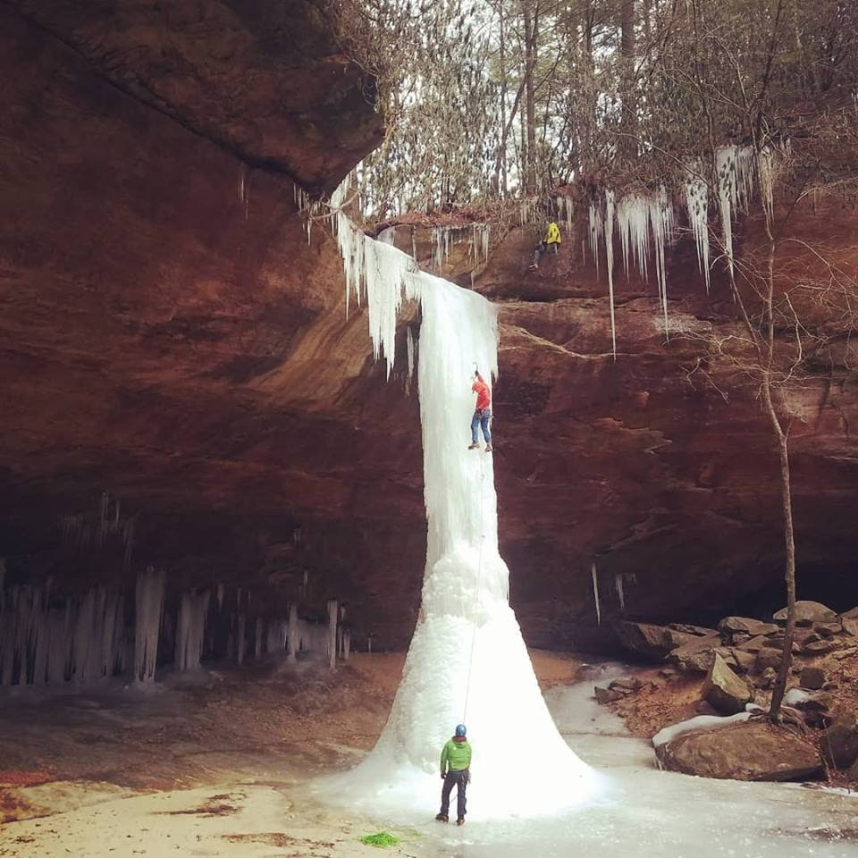 Heath Rowland on the first ascent of Copperas Creek Falls, Red River Gorge, Kentucky. Photo: Erik Kloeker.