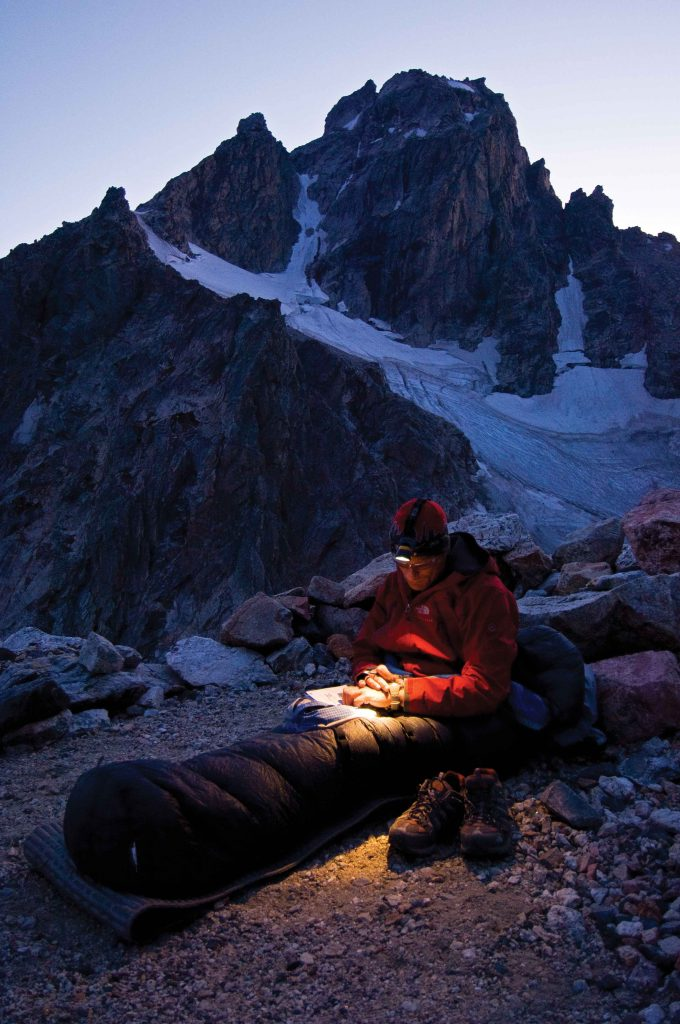 Conrad Anker near the Lower Saddle of the Grand Teton, Middle Teton Glacer in the background. Photo: Jimmy Chin.