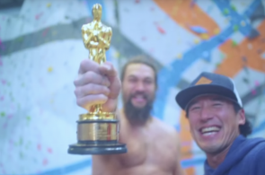 Jimmy Chin and Jason Momoa Go for a Climb with Oscar