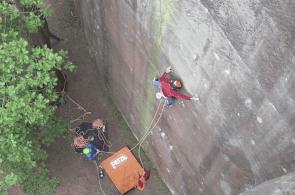 Steve McClure Making First Ascent of