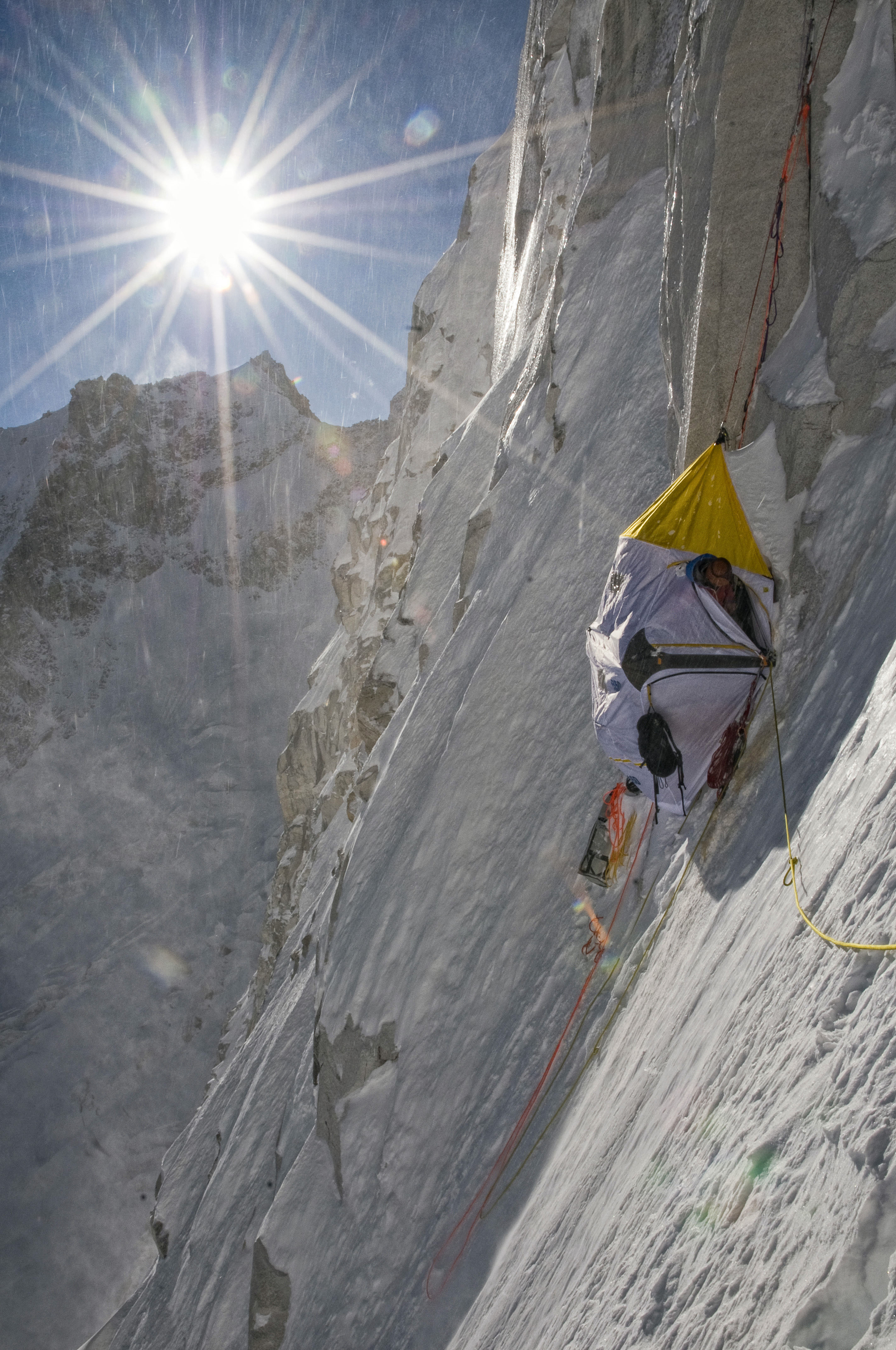 A portaledge camp at the base of the big wall on Meru. Photo: Jimmy Chin