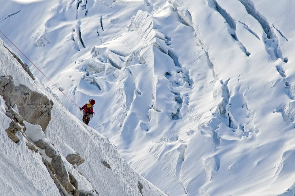 "Conrad Anker approaching ""Rubicon"" gully at the top of the alpine ridge, on Meru. Photo: Jimmy Chin"