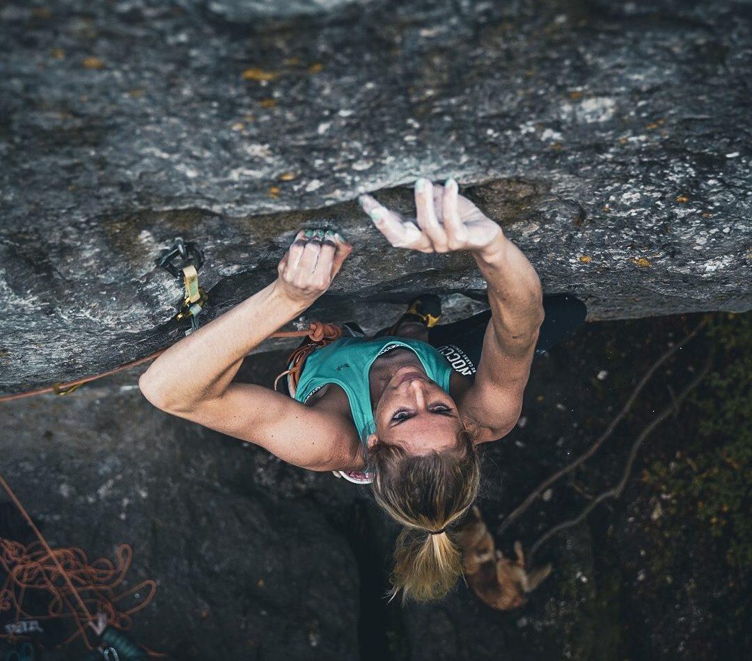Matilda Söderlund climbing in the Frankenjura, Germany.