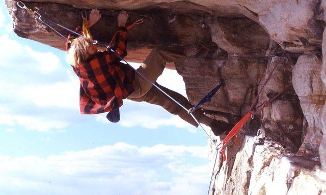 Steve Wunsch climbing Foops in the Gunks.