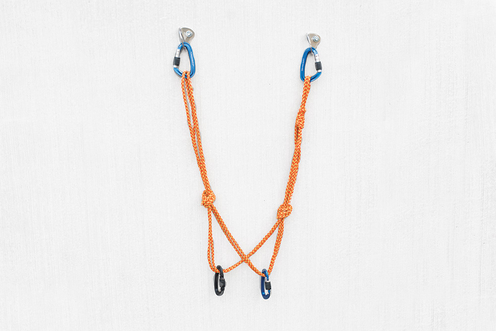 Quad climbing anchor tied with a cordelette