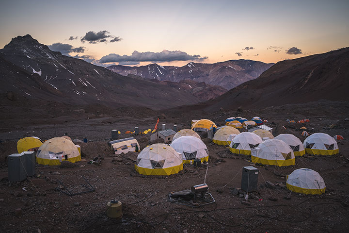 A cluster of tents at Aconcagua Base Camp.