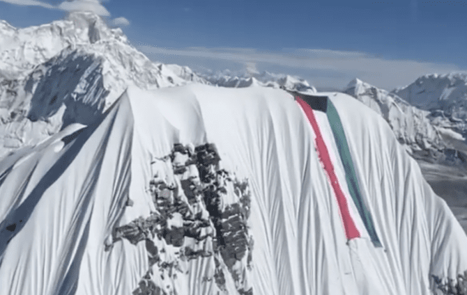 Nims Purja and the Kuwaiti Flag on Ama Dablam