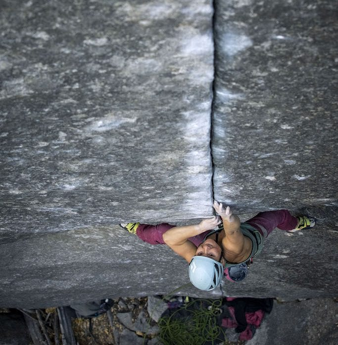 Hazel Findlay climbing delicately up Magic Line, a finger crack in Yosemite National Park.