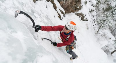 Jason Antin with his typical kit for multipitch ice climbing in Colorado.