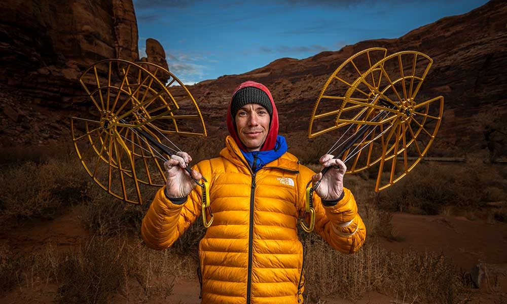 Alex Honnold with Black Diamond's brand new #21 Camalot. Photo: Andy Earl.
