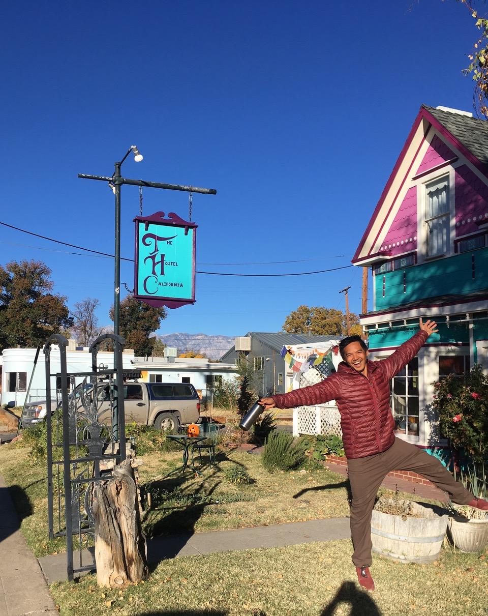 Outside Hostel California in Bishop, California.