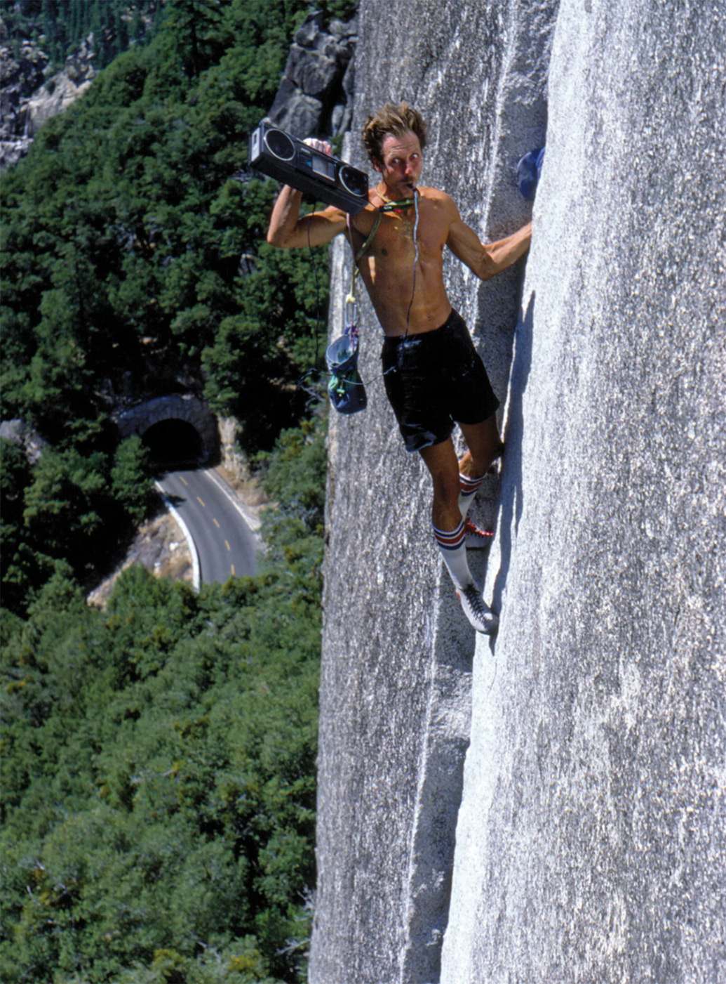 Werner Braun soloing Reed's Pinnacle Direct (5.10a) in the 1970s. Photo by Bob Gaines.