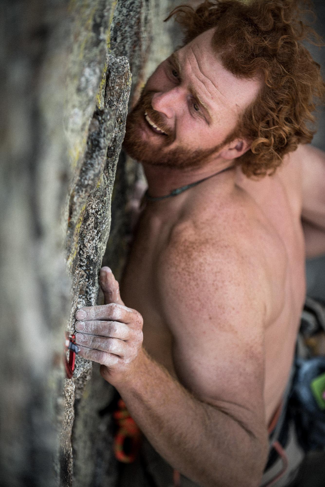 Wade Meade rock climbing.
