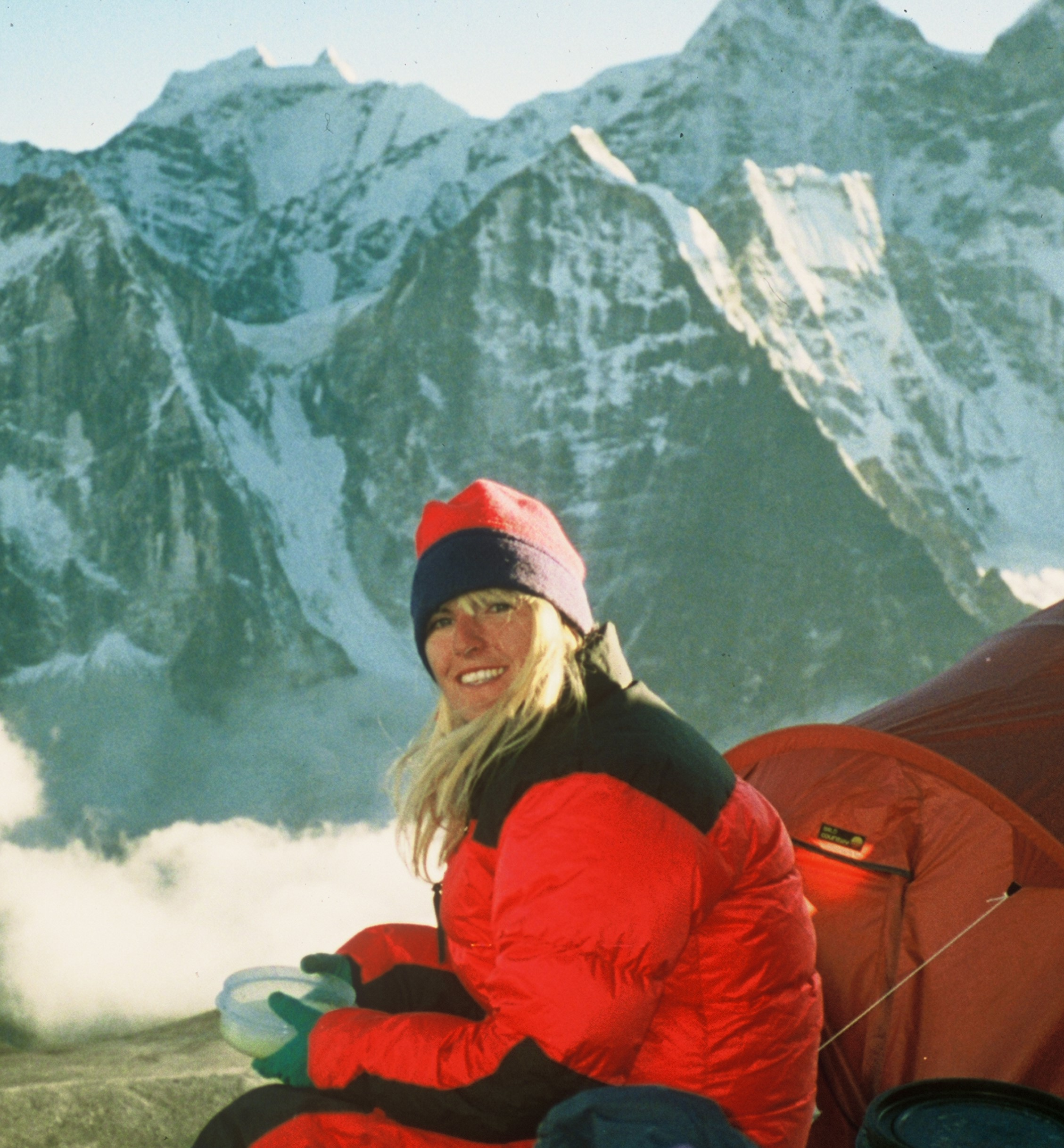 Christine Boskoff at Everest Base Camp.