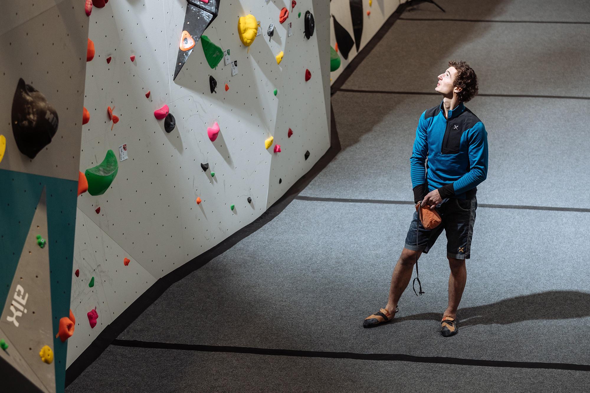 Adam Ondra in Hangar climbing gym in Brno.