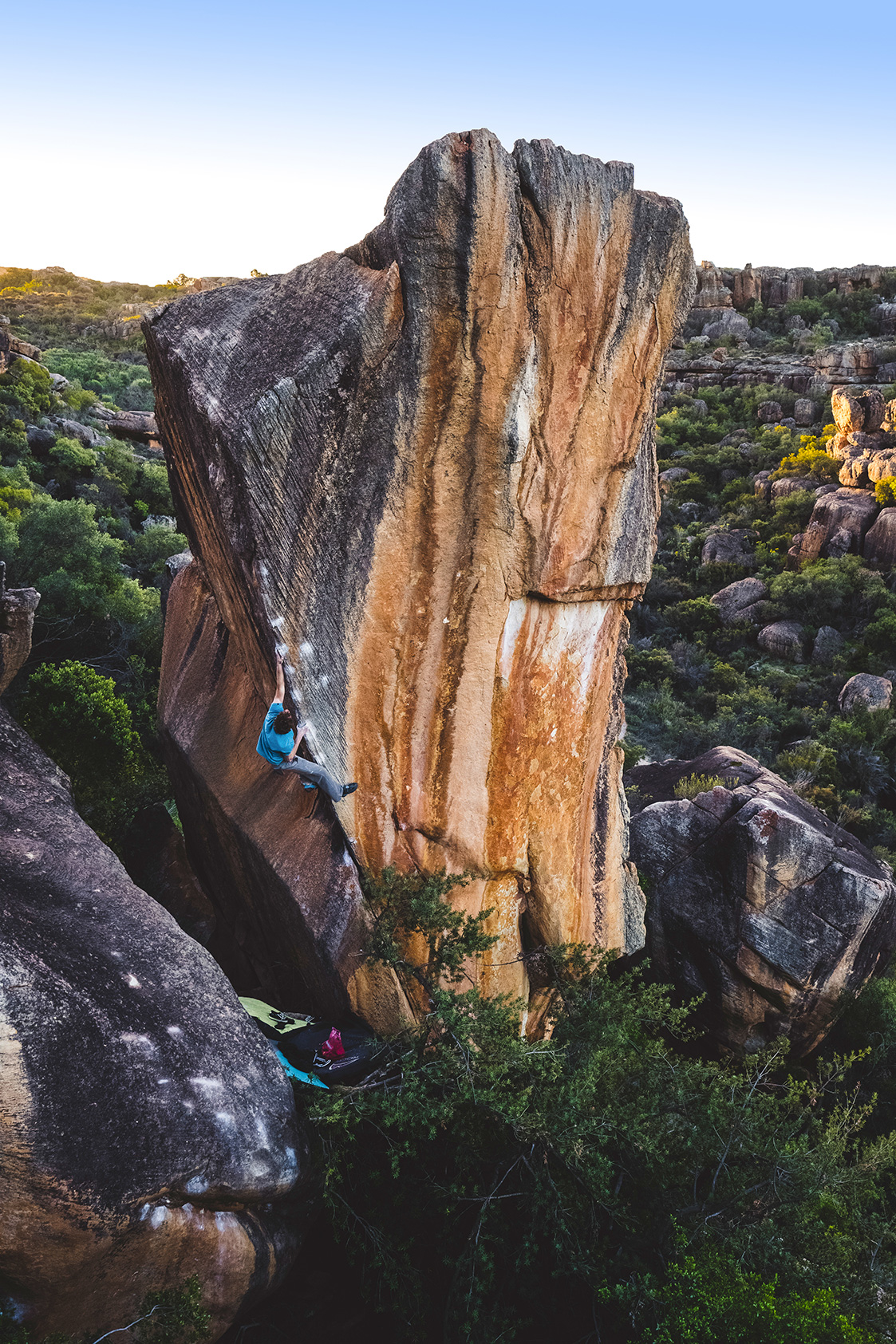 Giuliano Cameroni on the Finnish Line (V15/16), Rocklands, South Africa.
