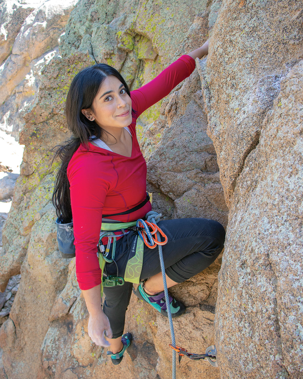 Maricela Rosales Ready on Claim Jumper (5.10a), Holcomb Valley, Southern California, in 2019.