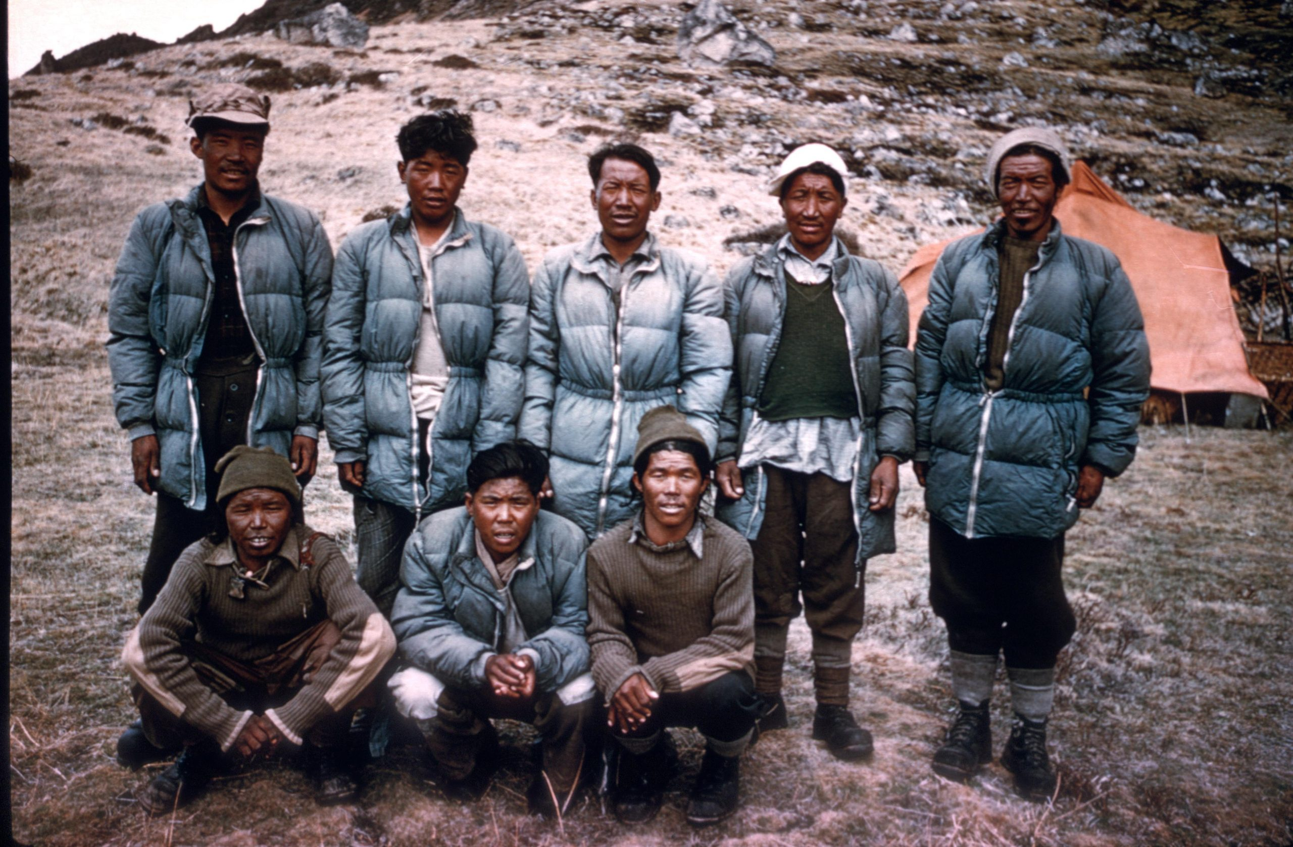The Sherpa team from the 1955 Kanchenjunga expedition.