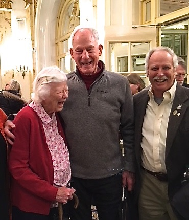 Gail Bates with Jim Whittaker (first American to climb Everest) and Jed Williamson, past AAC president, at the American Alpine Club meeting, 2018. Photo: Perry Williamson.
