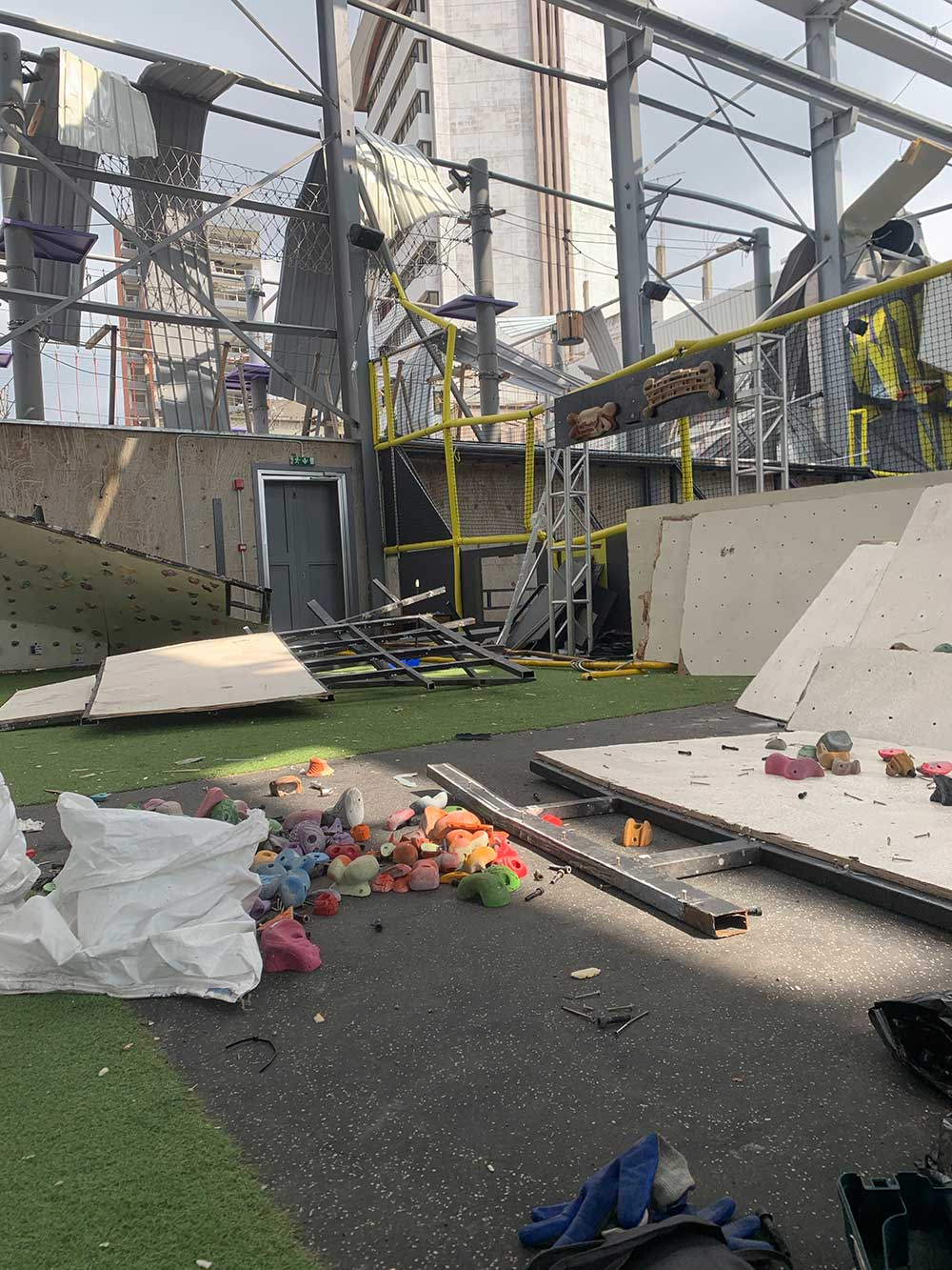 Flyp, the Beirut climbing gym, post-blast.