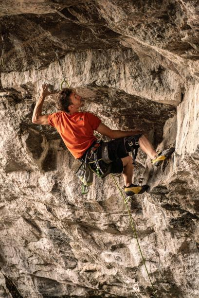 Stefano Ghisolfi on the second ascent of Change 5.15c in Flatanger Norway.