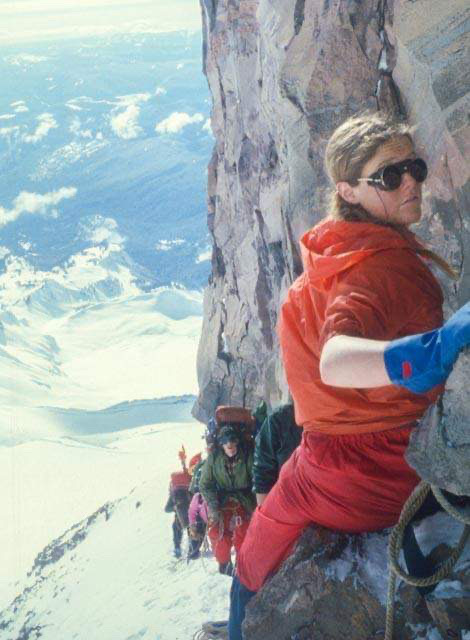 Rhea Dodd as a young student, on the way up during the attempt by an Evergreen State College group on a winter ascent of Mount Rainier. The 1979 tragedy, she said, composed her adulthood. Photo: Eric A. Kessler