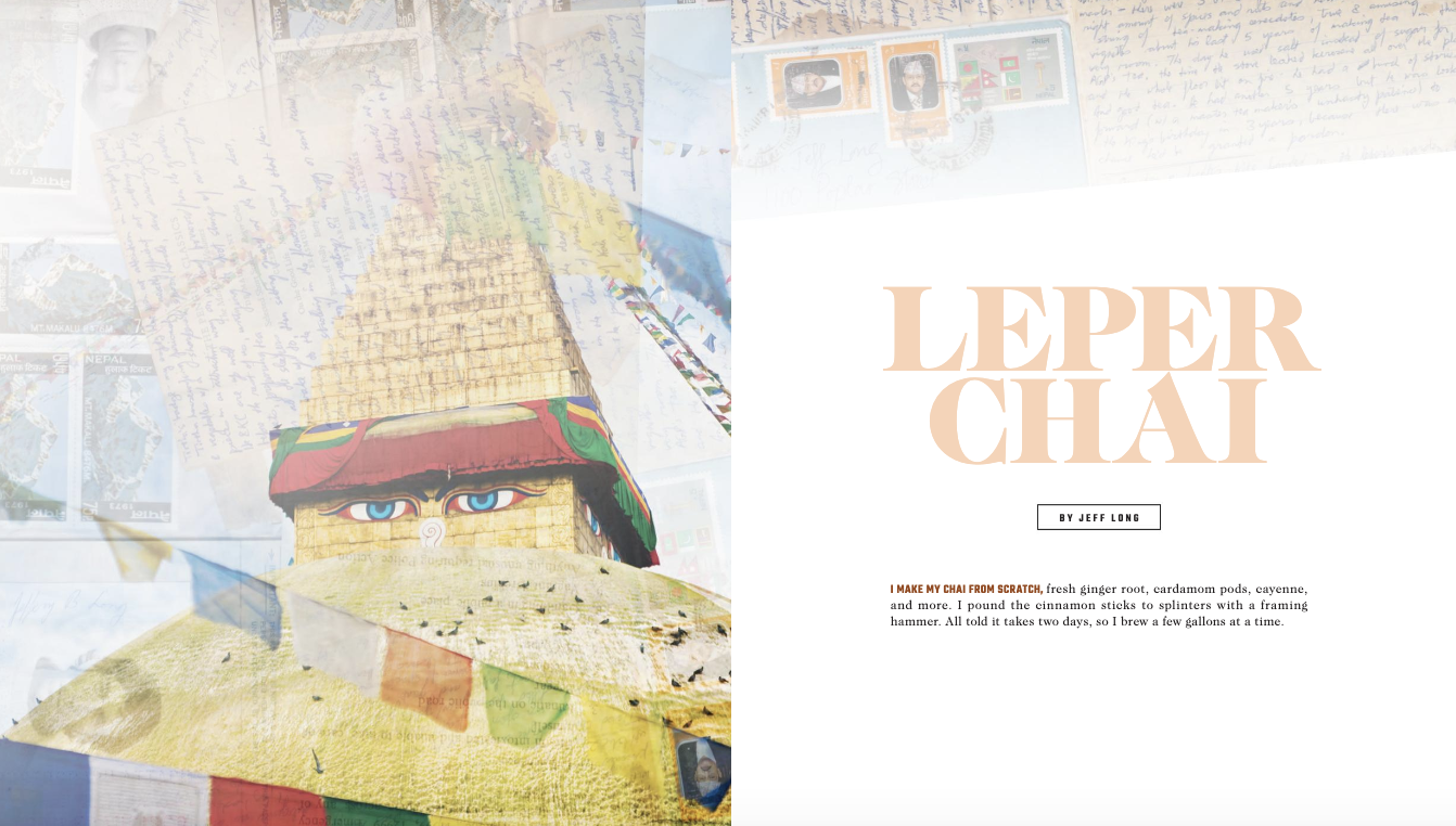 The opening spread from Jeff Long's Leper Chain, which appeared in Ascent 2020.