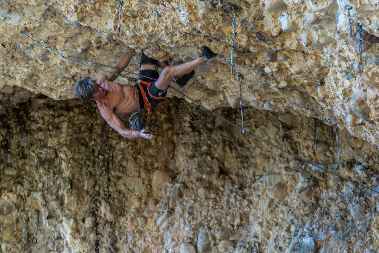 Chuck Odette on T-Rex, a 5.14b in Maple Canyon, Utah. Photo: Eric Steiner.