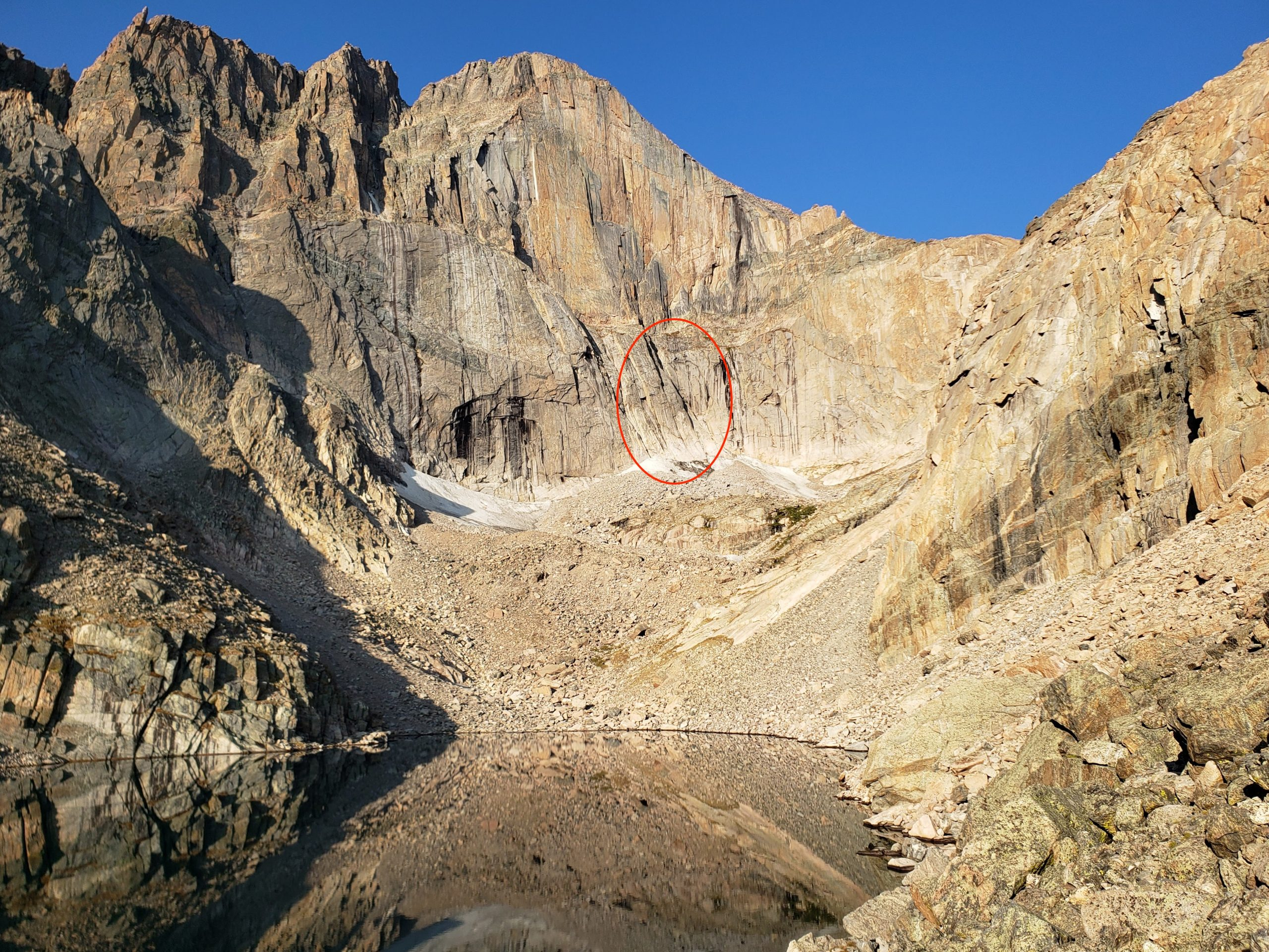 Annie Weinmann fell around 200 feet when she slipped soloing up the North Chimney on the East Face of Longs Peak. Photo: Annie Weinmann.