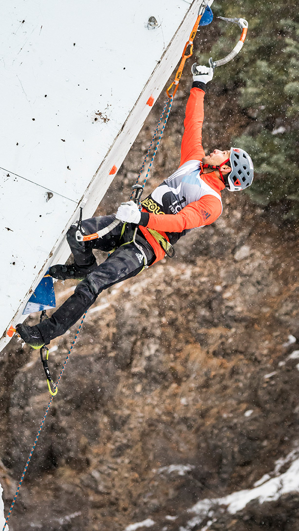 Durango ice-climbing coach Marcus Garcia maxes out his reach. Big, dynamic moves should become more common as the Ouray Ice Park moves toward a World Cup route setting style.