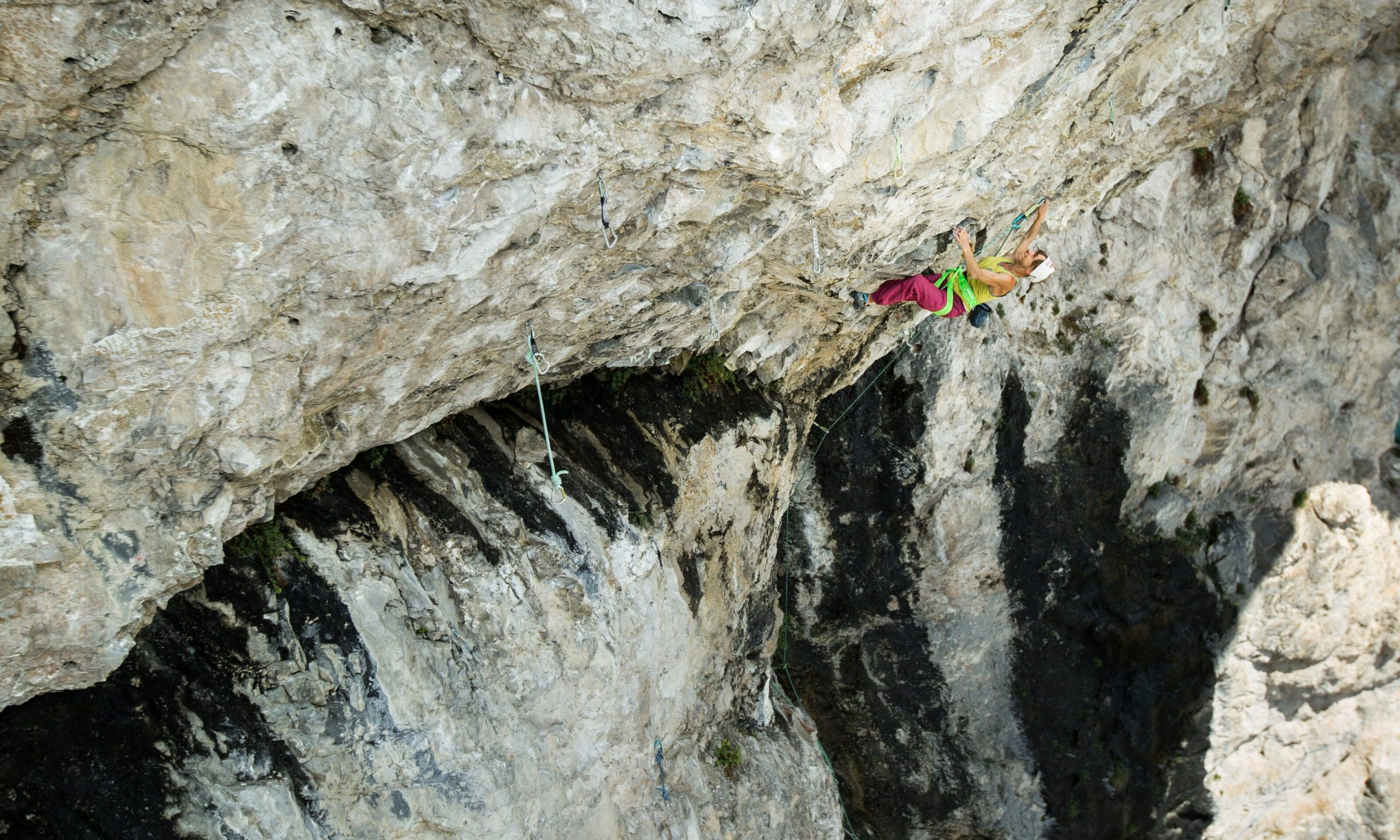 """Angela Eiter is seen climbing the """"Madame Ching"""" route in Tirol, Austria in August 2020. // Raphael P�ham / Red Bull Content Pool // SI202012150392 // Usage for editorial use only //"""