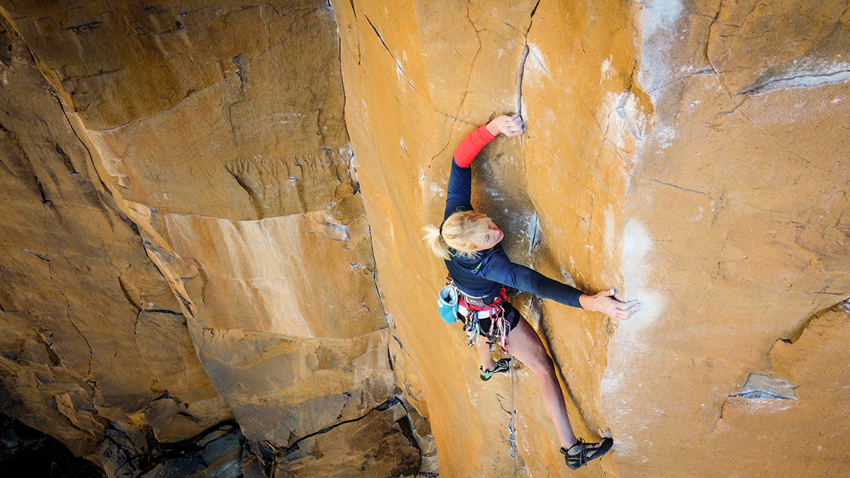 Brittany Goris on her first 5.14 trad route, East Coast Fist Bump. Photo: Erik Andersen