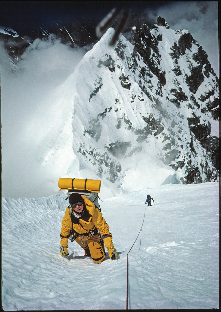 Tom Ballard's mother, Alison Hargreaves, on a new line on Kangtega, Nepal, climbed with Jeff Lowe, Mark Twight and Tom Frost in 1986. Hargreaves was among the most acclaimed and recognizable female alpinists in the world at the time of her death on K2 in 1995. Photo: Mark Twight.