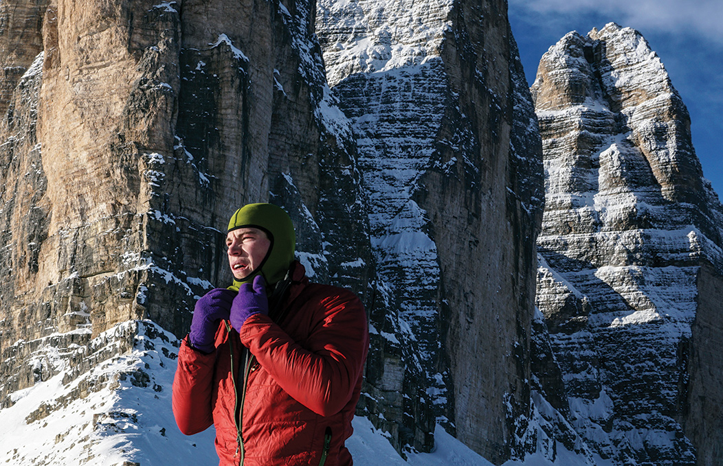 "Tom Ballard solo near the start of the <em>Comici-Dimai</em>(5.10+), Cima Grande di Lavaredo in the Italian Dolomites. Ballard's 2014 ascent kicked off his ""Starlight and Storm"" project, where he would become the first person to climb, solo, all of the Alps' six great North Faces in a single winter. Photo: Ruggero Arena."