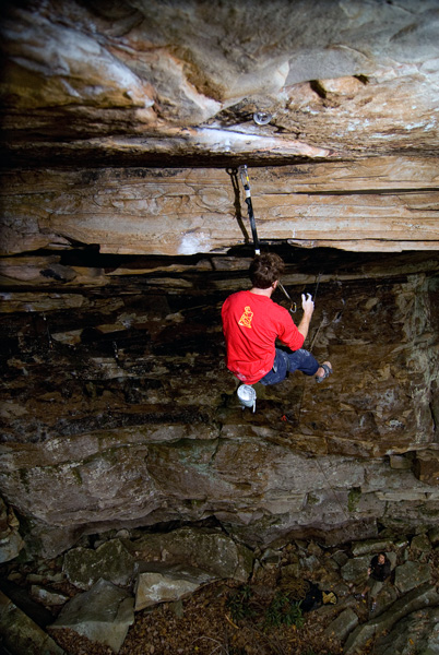 Although not the route the accident occurred on, the one shown here, also at the New River Gorge, has bolts straight up in a horizontal ceiling. While a properly placed bolt in good sandstone can hold up to two tons in a straight-out pull, an improperly placed bolt can fail.