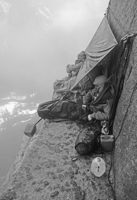 A serious storm hit these climbers atop El Cap Tower, eventually forcing a difficult retreat. Photo: Gordon Wiltsie.