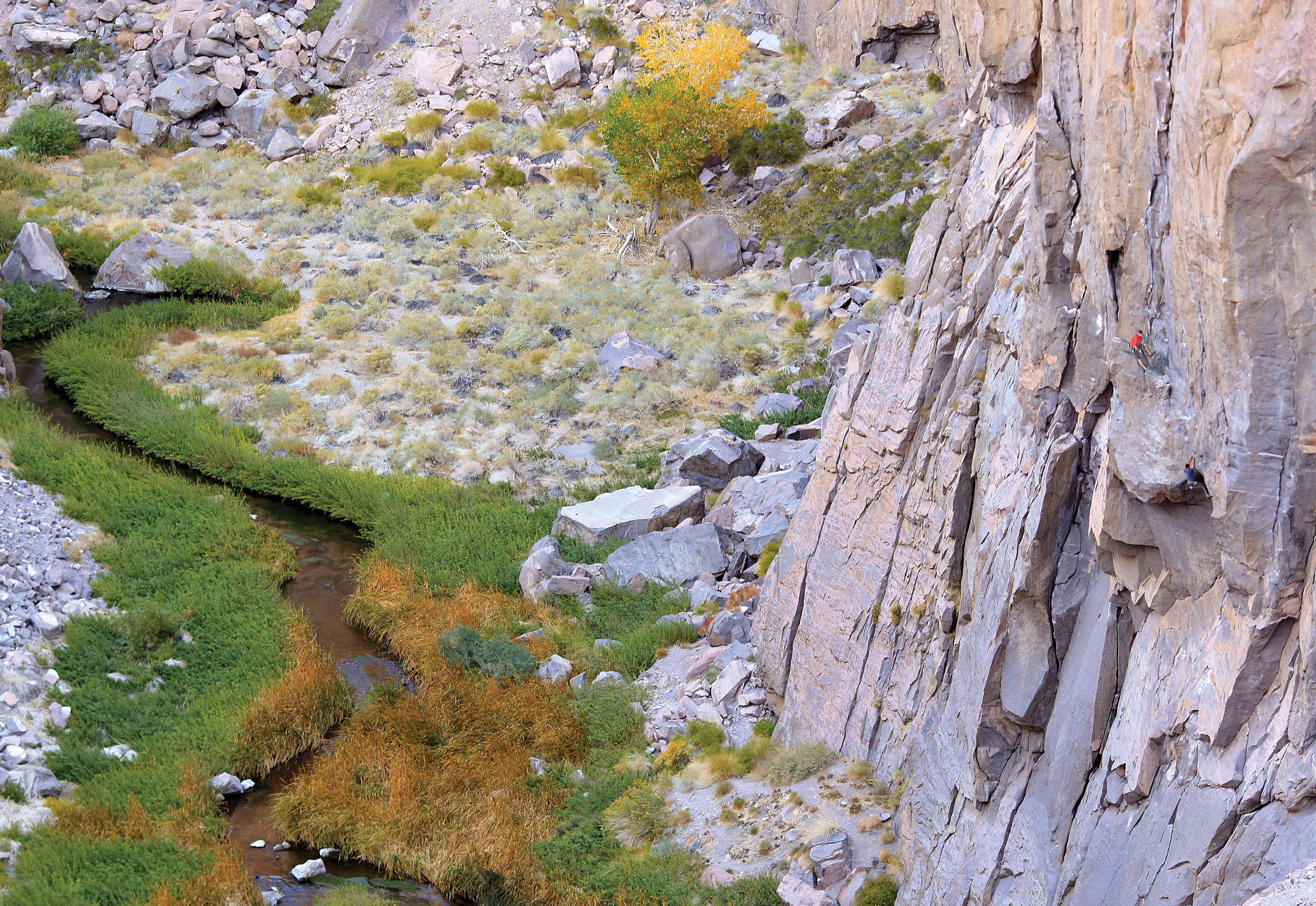Climbers on the two-pitch Superfly (5.10c), put up in 1997. The Gorge has great climbing, but some routes have old—and possibly dangerous—hardware.