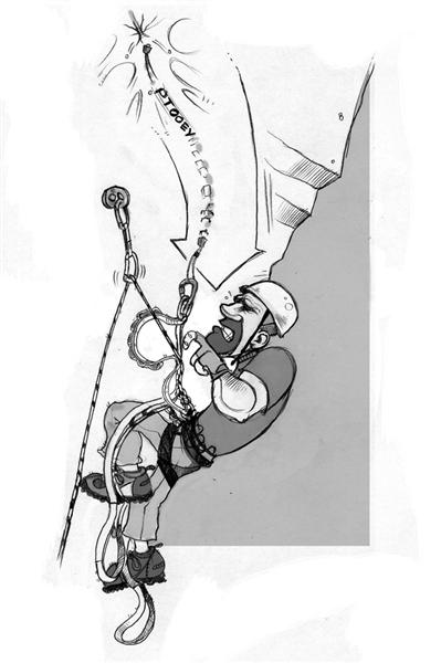 Right! Using a daisy chain as a keeper cord, letting the rope catch the fall. Illustration by <a target=
